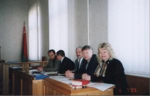 На заседании Верховного Суда РБ по делу о ликвидации НИСЭПИ (Минск, апрель 2005 г.)